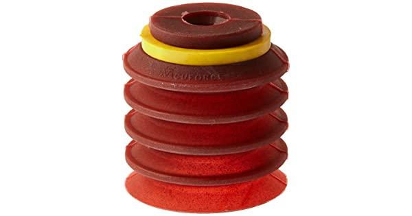 30 mm Vacuforce VFBL30-2SMI Multiple Bellows Metal Impregnated Red Silicone Vacuum Cup Type D Fitting