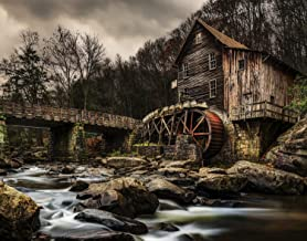 Utah Nature Photography 11x14 Inch Nature Art Print Old Grist Mill with Water Wheel at The Tail End of Autumn in Babcock State Park West Virginia Unframed Print | Professionally Produced Wall Poster