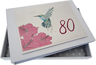 WHITE COTTON CARDS Age 80 Humming Bird,Handmade 80th Birthday Tiny Photo Album