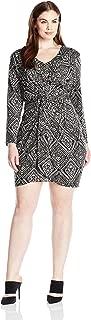 MISA Los Angeles Women's Plus Size Twist Front Printed Dress