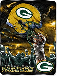 NFL Green Bay Packers 60-Inch-by-80-Inch Plush Rachel Blanket, Sky Helmet Design