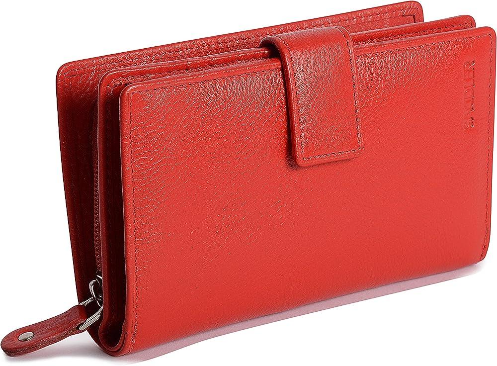 Saddler portafoglio porta carte di credito da donna in pelle SADDL-2040-RED