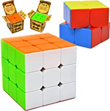 Speed Cube, 2 Pack Magic Cube 3×3 & 2×2; Puzzle Cube, Easy Turning; Sticker..