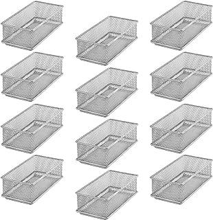 YBM HOME صناديق تنظيم رف خزانة أدراج شبكية فضية، حامل لوازم المدرسة والمكتب ومستلزمات المكتب, فولاذ, فضي, 3x6x2 Inch