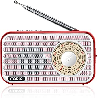 Retro Radio with Bluetooth Speaker Rechargeable Battery Operated AM FM NOAA Portable Radio Pocket Vintage Radio, Supports ...