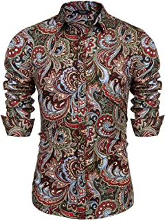 Men's Paisley Cotton Long Sleeve Shirt Floral Print Casual Retro Button Down Shirt