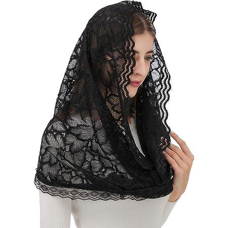 Black rhombus tulle Church Scarf  lace mantilla Headwrap for mass Church head covering Catholic veil