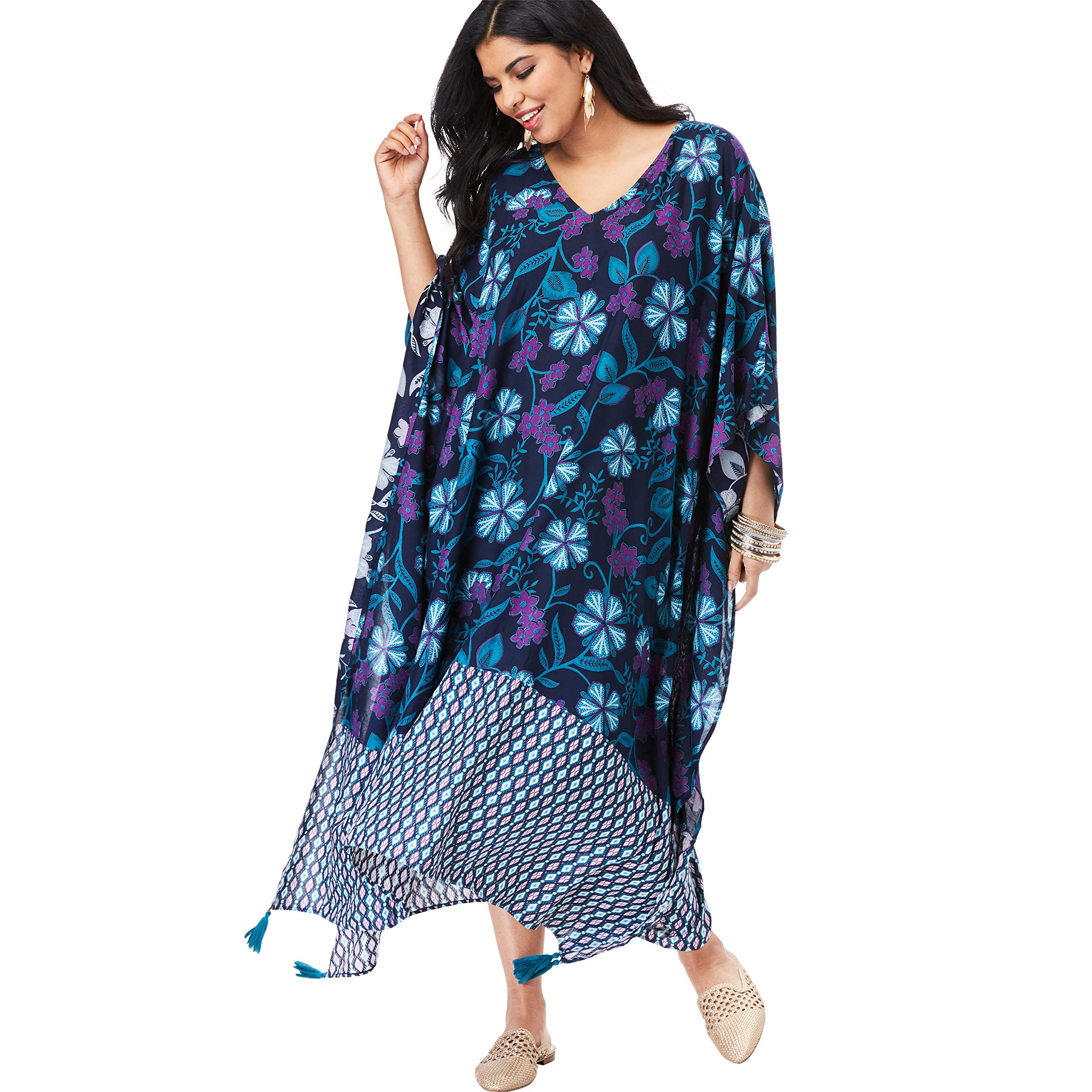Available at Amazon: Roamans Women's Plus Size V-Neck Caftan Dress with Tassels
