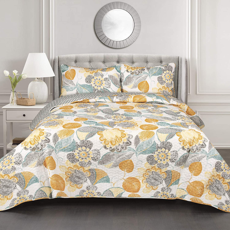 Lush Decor Layla Quilt Floral Leaf Print 3 Piece Reversible Bedding Set, King, Orange & Blue
