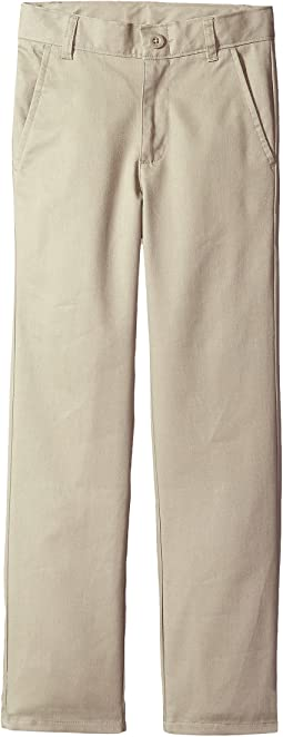 Slim Flat Front Twill Double Knee Pants (Big Kids)
