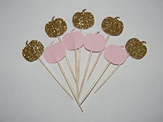 Set of 24 Gold glitter & Baby Pink My little pumpkin baby shower Cupcake toppers food picks party decor