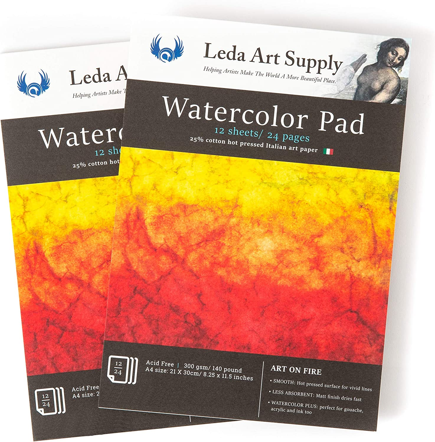 Leda Art Supply Hot Pressed Watercolor Pack Popular popular 2 Tota Pages 48 Reservation Pad