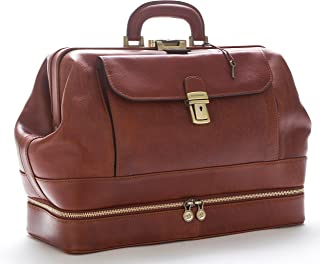 D&D - Doctor's Bag Borsa Medico stile classico con vano Portastrumenti - Made in Italy (Mogano Opaco)