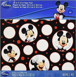 EK Success Mickey Mouse Lot de 10 Feuilles de Papier Noir/Blanc/Rouge 2 Feuilles de Papier texturé