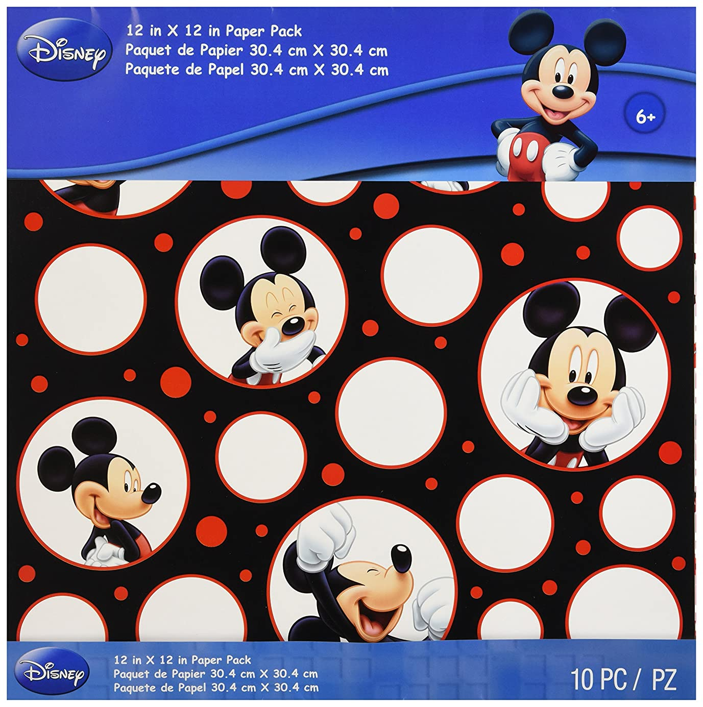 EK Success Mickey Mouse Black/White/Red Paper Pack, 10 Sheets, 2 Each/5 Textured Papers ajrkgb5825