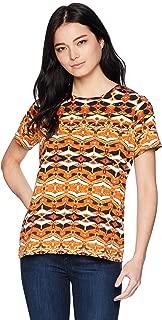 Rafaella Women's Petite Printed Embellished Knit Tee,