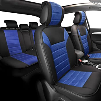 Black Front Set FH Group FB209102BLACK Universal Fit Ultra Car Seat Cushions with Colorful Stitching