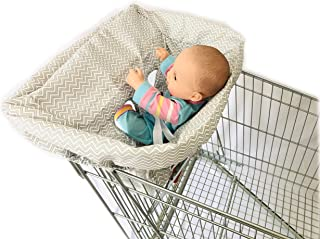 Standard Size 2-in-1 Shopping Cart Cover with Safty Harness | High Chair Cover for Baby (Gray Wave)