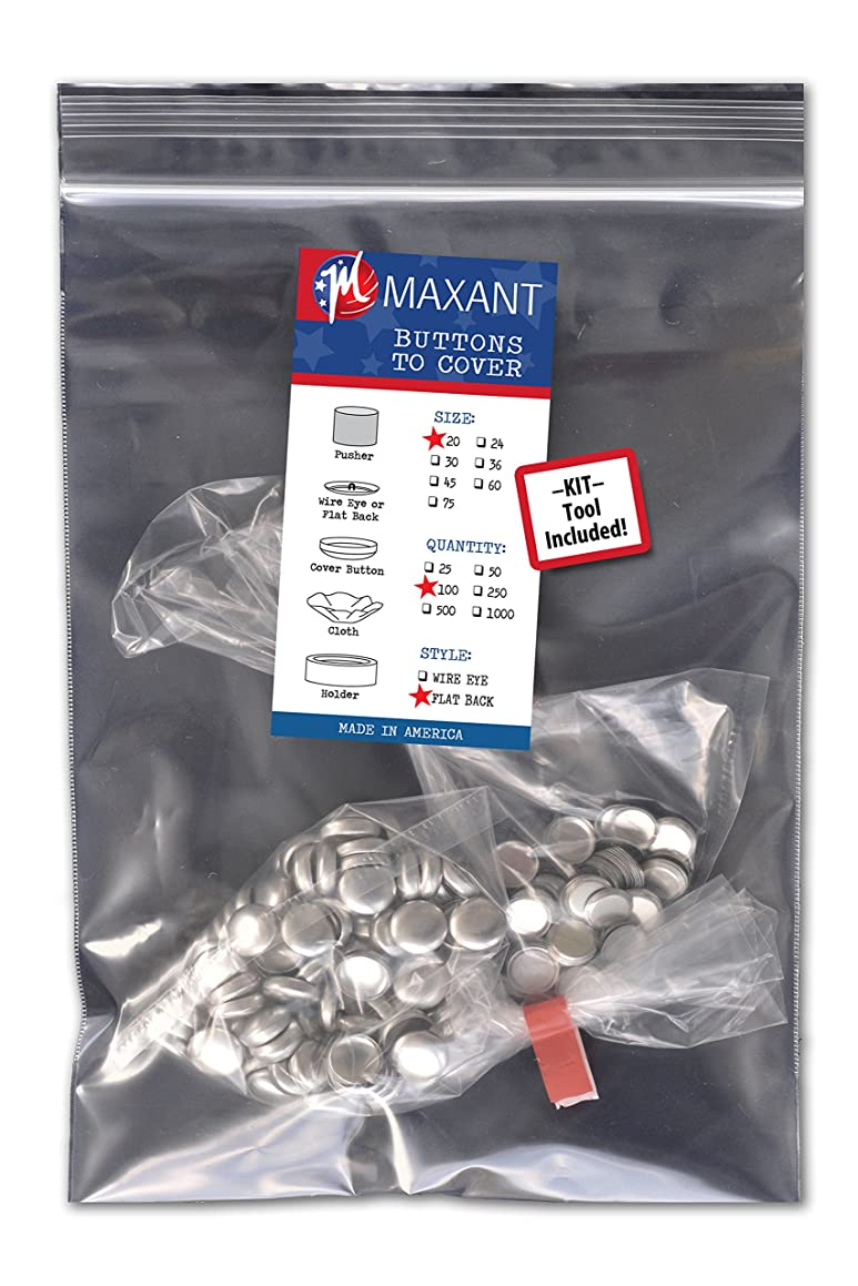 100 Buttons to Cover - Made in USA - Self Cover Buttons with flat backs - size 20 with Tool
