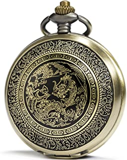 SEWOR Fashion Bronze Quartz Enamel Painting Pocket Watch Black Dial + Leather Box(2 Type Chain)