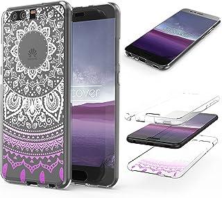 Urcover® 360 Grad Mandala Cover kompatibel mit Huawei P10 Plus Hülle Pink RUNDUM Schutz Ultra Slim Full Body Touch Case Schale Handy Tasche Crystal Clear Zubehör Handy Hülle