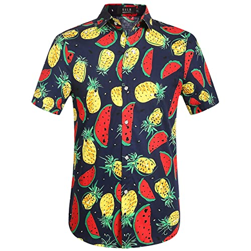 9c266e10 SSLR Men's Short Sleeve Button Down Casual Fruits Tropical Hawaiian Shirt