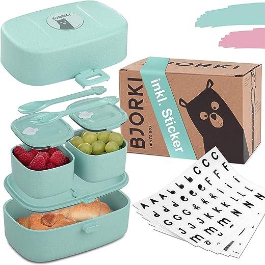 BJORKI® Bento Box für Kinder inkl. GRATIS Namensticker – Auslaufsichere Lunchbox mit Fächern – Nachhaltige Brotdose Kinder für Kindergarten &…
