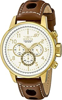 Invicta Men's 16011 S1 Rally 18k Gold Ion-Plated Watch with Brown Leather Strap