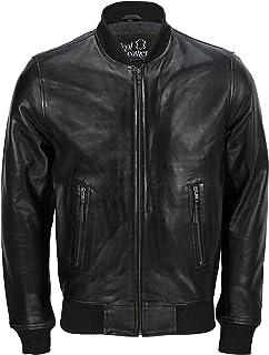 Mens New Black Soft Real Leather Vintage Smart Casual Collar Bomber Style Biker Jacket