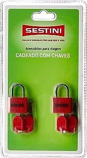 Cadeado para Bagagem c/ Chave Sestini, Adulto Unissex, Vermelho