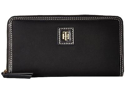 Tommy Hilfiger Julia Large Zip Nylon Wallet (Black) Wallet Handbags