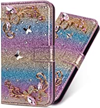 Miagon Diamond Case for Samsung Galaxy S20 Glitter Rhinestone Flower PU Leather Folio Flip Wallet Cover Magnetic Closure Card Slots Case Cover Rainbow Blue Estimated Price : £ 6,59