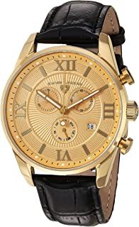 Swiss Legend Men's Bellezza Stainless Steel Swiss-Quartz Watch with Leather Calfskin Strap, Black, 21 (Model: 22011-YG-010-BLK)