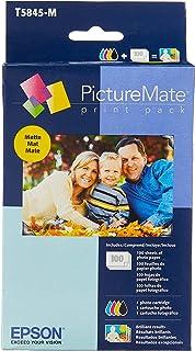 Epson T5845-M Pacote de impressão PictureMate inclui cartucho de jato de tinta, 100 folhas de papel fotográfico fosco