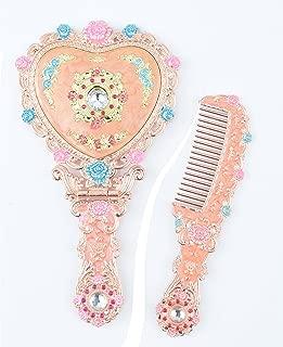 Moiom Vintage Princess Mirror, Iridescent Rhinestones Crystal Metal Folding Handheld Cosmetic Mirror Portable Travel Dressing Table Makeup Mirror, Rose Red