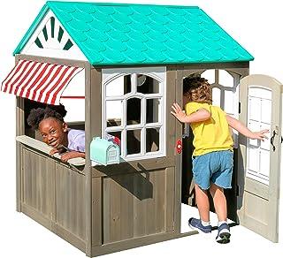 comprar comparacion KidKraft- Casa de juguete de exteriores con un toldo a rayas como el de las cafeterías (casa de juguete de madera para ext...