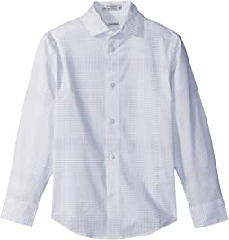 Calvin Klein Kids Dot Plaid Print Long Sleeve Shirt (Big Kids)