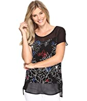 Vince Camuto - Short Sleeve Floral Coastlines Mix Media Top