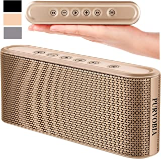 PURVOBIA Ultra Thin Slim Bluetooth Speaker – Bluetooth 5.0 Wireless Speaker Mini Portable Player Deep Bass Stereo Sound | Smart Touch Control w/ 20 Hour Playtime 5000mAh Power Bank Battery (Gold)