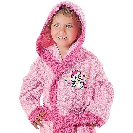 Secaneta - Accappatoio per Bambini, con Cappuccio e Tasche, 100% Cotone, Unicorno Anni / 6/8 Anni, Multicolore