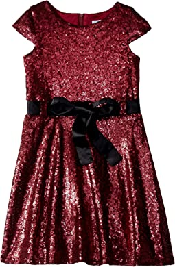 Cap Sleeve All Over Sequin Skater Dress (Toddler/Little Kids)