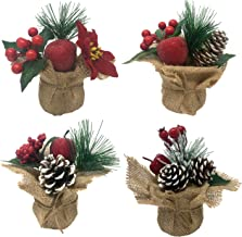 Tabletop Christmas Berry Pots - Set of 4 Small Burlap Base Holiday Home Decor Trees Sets - White Frosted Pinecones, Red Be...