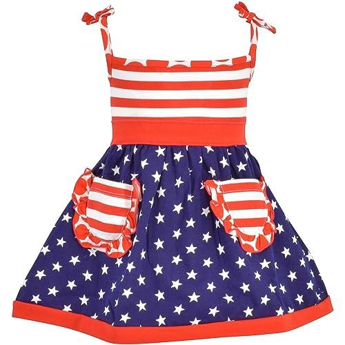 5e70f607af779 Unique Baby Girls Patriotic 4th of July Summer Dress