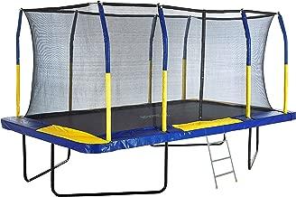 Mega Outdoor Gymnastic Trampoline with Fiber Flex Enclosure System, 9' X 15' | Big Trampoline for Kids | Rectangular Adult Trampoline | Safe & Fun Great Exercise Trampoline | Bonus 3-Step Ladder