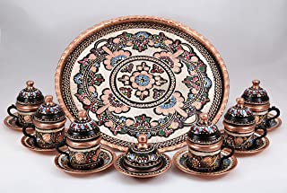 Handcraft Ideas 27-Piece Turkish Coffee, Espresso and Tea Set - Handmade Serving Set for 6 Includes Cups, Saucers, Sugar Bowl and Tray - Floral Design - Premium Copper Construction (CS6-113)