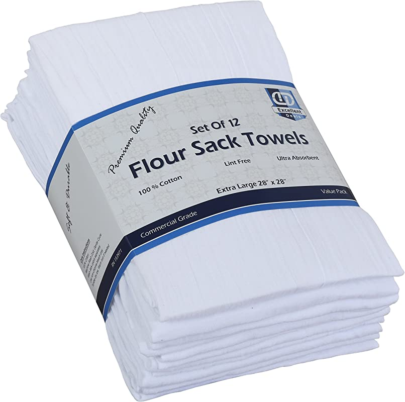 Flour Sack Kitchen Towels White 12 Pack 100 Cotton 28x28 Inch Cloth Napkin Bread Wrapper Cheesecloth Multi Purpose Kitchen Dish Towels Bar Towels Extremely Absorbent Sturdy By Excellent Deals
