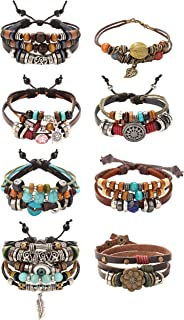 8Pcs Vintage Bohemia Wind Beaded Bracelet Multilayer Hand...