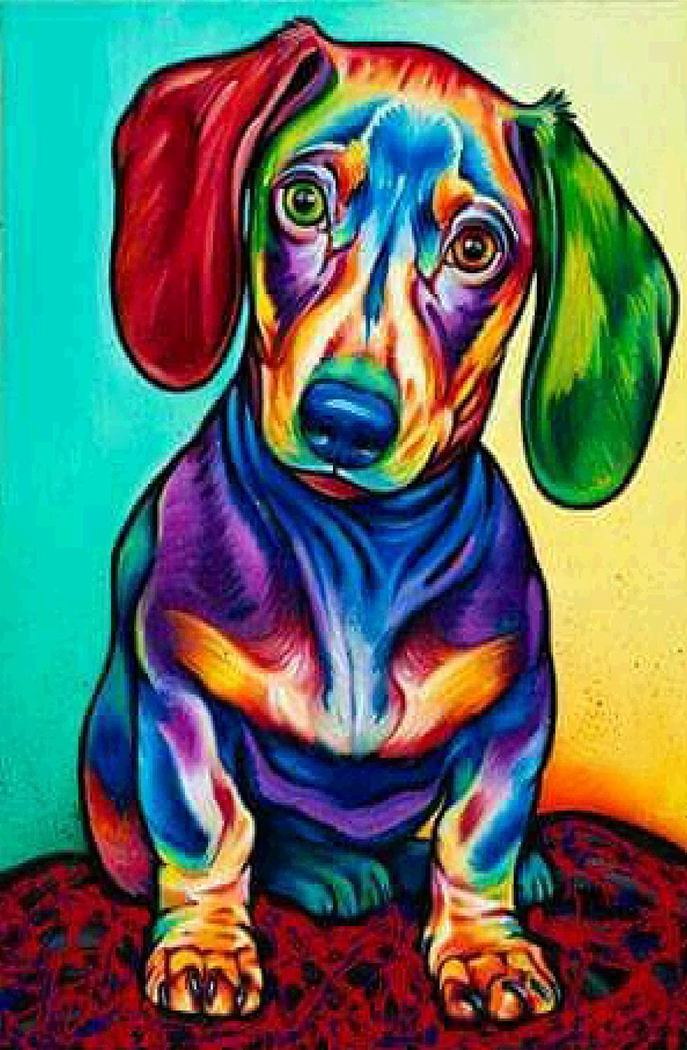 TianMaiGeLun New DIY 5D Diamond Painting Kits Diamond Embroidery Art Painting Pasted Paint by Number Kits Stitch Craft Kit Home Decor Wall Sticker - Colorful Dog, 35x25cm