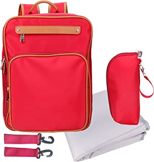 Baby Diaper Bag for Women Diaper Backpack with Changing Pad Insulated Sleeve Stroller Strap Medium Small Red
