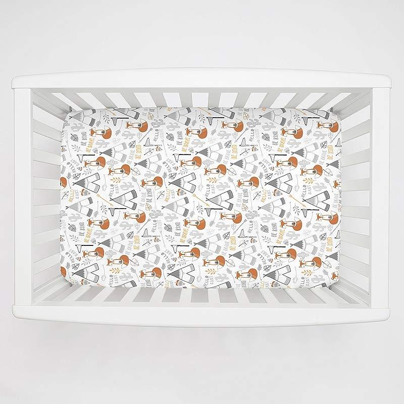 Carousel Designs Brave Fox Mini Crib Sheet 1 Inch 4 Inch Depth Organic 100 Cotton Fitted Mini Crib Sheet Made In The USA